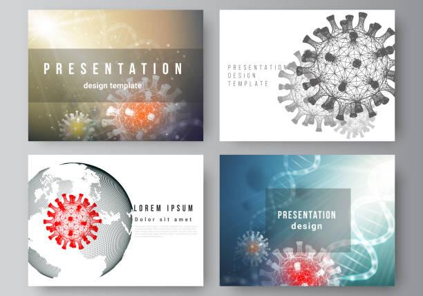 Vector layout of the presentation slides design business templates, multipurpose template for presentation report. 3d medical background of corona virus. Covid 19, coronavirus infection. Virus concept – artystyczna grafika wektorowa