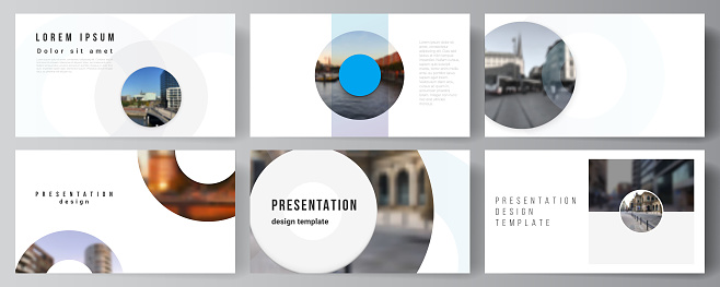 Vector layout of the presentation slides design business templates, multipurpose template for presentation brochure, cover. Background template with rounds, circles for IT, technology. Minimal style