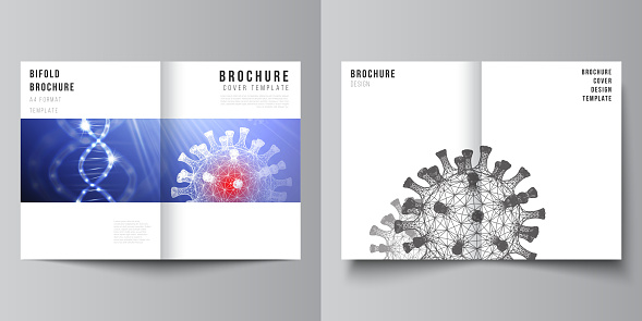 Vector layout of two A4 cover mockups templates for bifold brochure, flyer, magazine, cover design, book design. 3d medical background of corona virus. Covid 19, coronavirus infection. Virus concept.