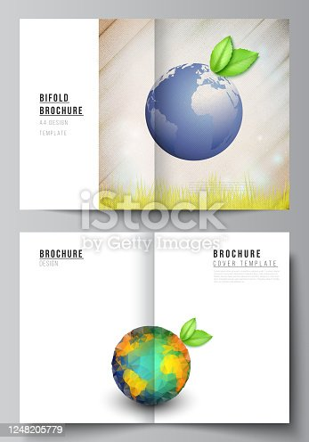 Vector layout of two A4 format cover mockups design templates for bifold brochure, flyer, cover design, book design, brochure cover. Save Earth planet concept. Sustainable development global concept.