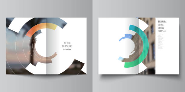 Vector layout of two A4 format modern cover mockups design templates for bifold brochure, flyer, booklet, report. Futuristic design circular pattern, circle elements forming geometric frame for photo. – artystyczna grafika wektorowa