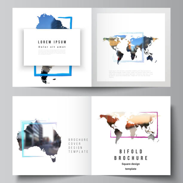 Vector layout of two covers templates for square bifold brochure, flyer, cover design, book design, brochure cover. Design template in the form of world maps and colored frames, insert your photo. – artystyczna grafika wektorowa