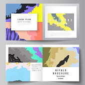 Vector layout of two covers templates for square design bifold brochure, flyer, cover design, book design, brochure cover. Japanese pattern template. Landscape background decoration in Asian style