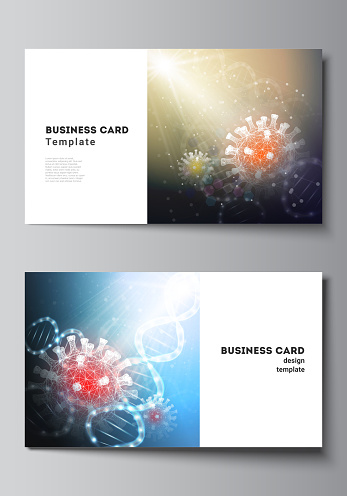 Vector layout of two creative business cards design templates, horizontal template vector design. 3d medical background of corona virus. Covid 19, coronavirus infection. Virus concept.