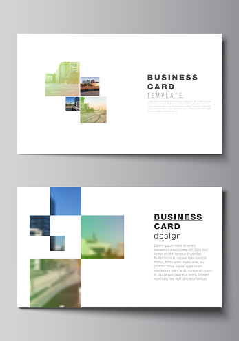 Vector layout of two creative business cards design templates, horizontal template vector design. Abstract project with clipping mask green squares for your photo.