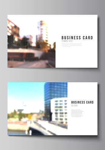 Vector layout of two creative business cards design templates, horizontal template vector design. Abstract halftone effect decoration with dots. Dotted pattern decoration.