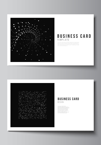 Vector layout of two creative business cards design templates, horizontal template vector design. Abstract technology black color science background. Digital data. Minimalist high tech concept.