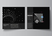 Vector layout of two square covers templates for brochure, flyer, cover design, book design, brochure cover. Abstract technology black color science background. Digital data. High tech concept