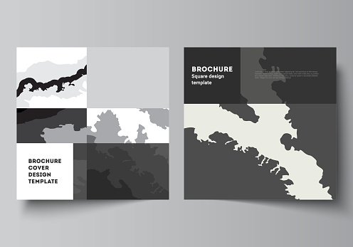 Vector layout of two square format covers design templates for brochure, flyer, magazine, cover design, book design, brochure cover. Landscape background decoration, halftone pattern grunge texture.
