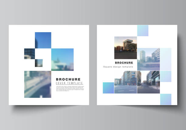 Vector layout of two square format covers templates for brochure, flyer, magazine, cover design, book design, brochure cover. Abstract design project in geometric style with blue squares. – artystyczna grafika wektorowa