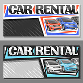 Vector layouts for Car Rental with copy space, coupon with 3 cartoon different automobiles in a row, lettering for words car rental, automotive sign board for cheap rental company with grey background