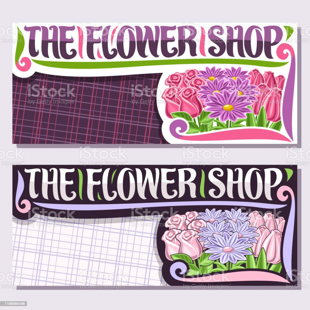 Vector layouts for Flower Shop with copy space, cartoon pale tulips,...