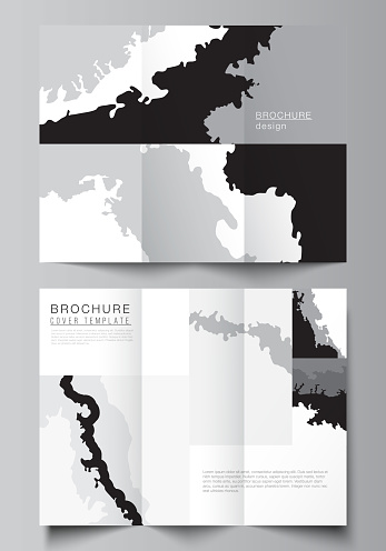 Vector layouts of covers design template for trifold brochure, flyer layout, magazine, book design, brochure cover, advertising mockup. Landscape background decoration, halftone pattern grunge texture