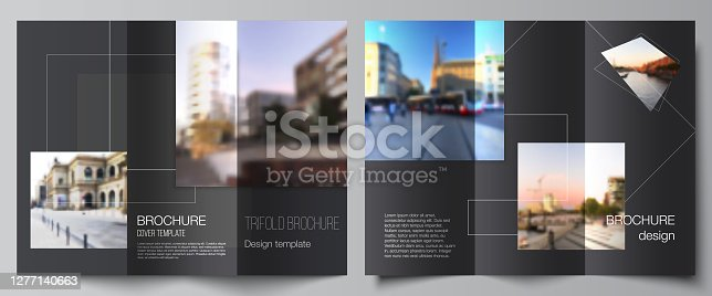istock Vector layouts of covers design templates with geometric simple shapes, lines and photo place for trifold brochure, flyer layout, magazine, book design, brochure cover, advertising mockups. 1277140663