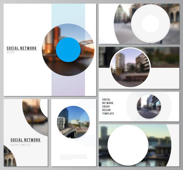 vektorlayouts moderner social-network-mockups für cover-design, website-design, website-hintergründe oder werbe-mockups. hintergrundvorlage mit runden, kreisen für it, technologie. minimaler stil - tablet mit displayinhalt stock-grafiken, -clipart, -cartoons und -symbole