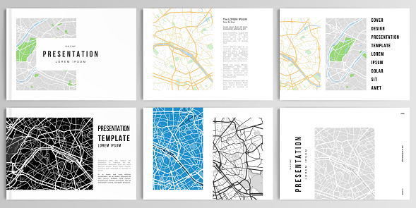 Vector layouts of presentation design templates with urban city map of Paris for brochure, cover design, flyer, book design, magazine, poster.