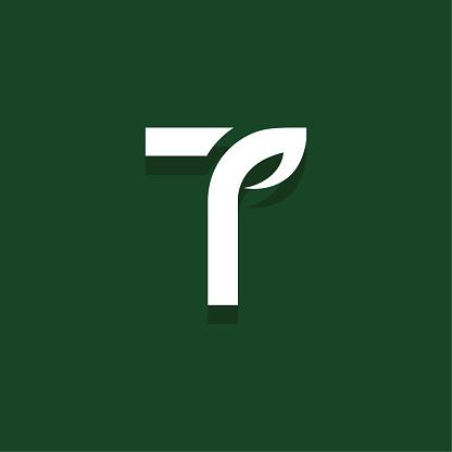 Vector Leaf Letter Design T