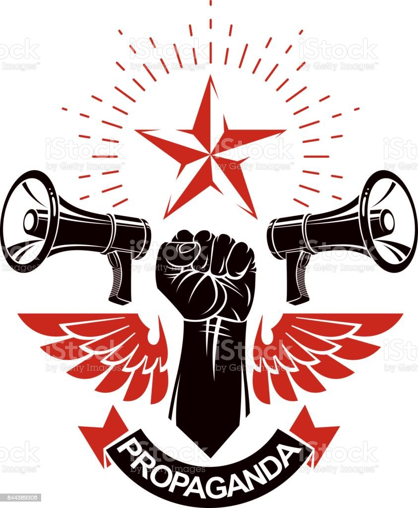 Vector leaflet created using clenched fists raised up, freedom wings and loudspeaker equipment. Propaganda as a powerful weapon of influence on social behavior. vector art illustration