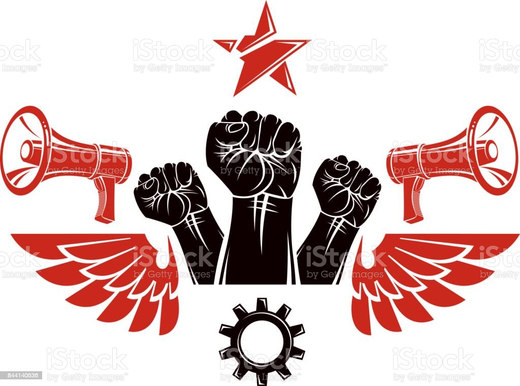 Vector leaflet created using clenched fists raised up, megaphone equipment and engineering cog wheel element. Dictatorship and manipulation theme, totalitarianism as the evil power. vector art illustration