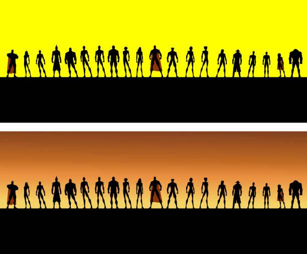 vektor-liga der superhelden-silhouette - gerechtigkeitsliga stock-grafiken, -clipart, -cartoons und -symbole