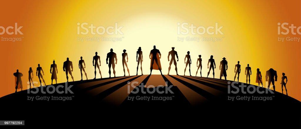 Vector League Of Superheroes Silhouette Stock Illustration