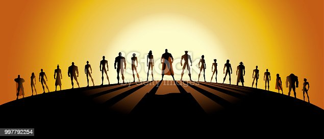 A vector silhouette style illustration of an army of superheroes. Wide space available for your copy. Perfect for website header.