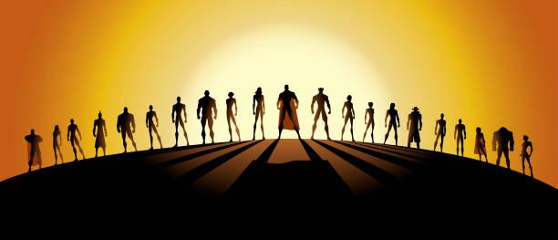ilustrações, clipart, desenhos animados e ícones de vector liga de super-heróis silhueta - equipe esportiva