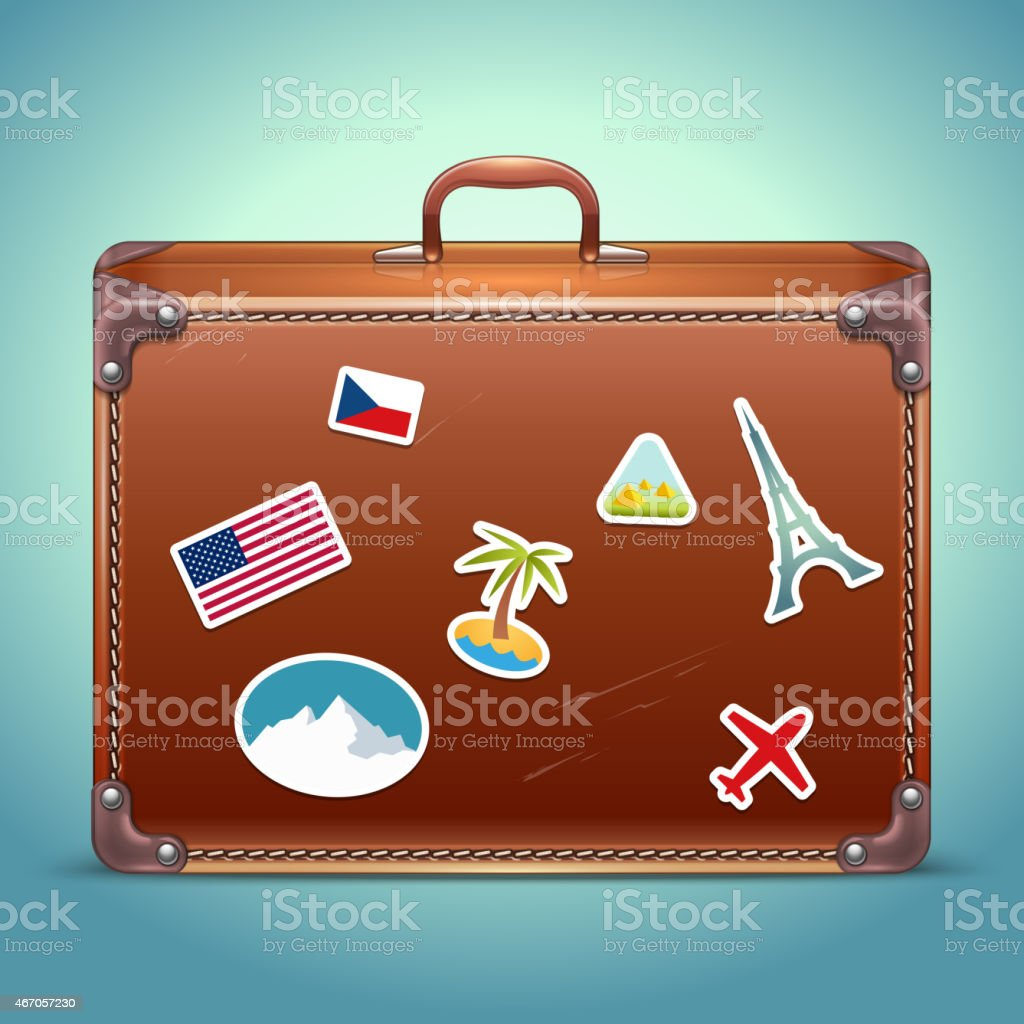 Vector Leather Suitcase with Travel Stickers vector art illustration