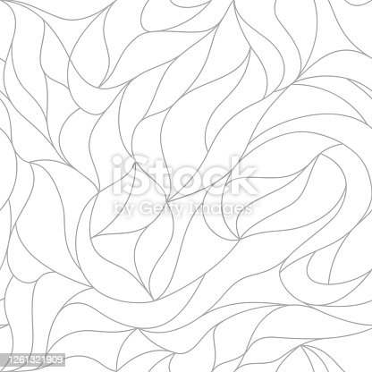 istock Vector leaves of a seamless pattern. Floral organic background. line drawn wallpapers 1261321909