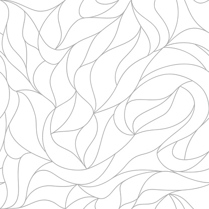 Vector organic pattern. Seamless texture of plants drawn lines. Stylish leaves white background. Modern wallpaper or textile print