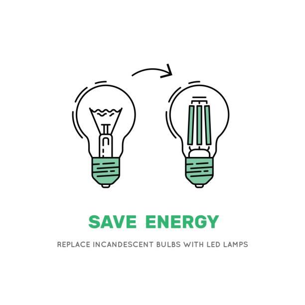 vektor-led energiesparlampe - led stock-grafiken, -clipart, -cartoons und -symbole