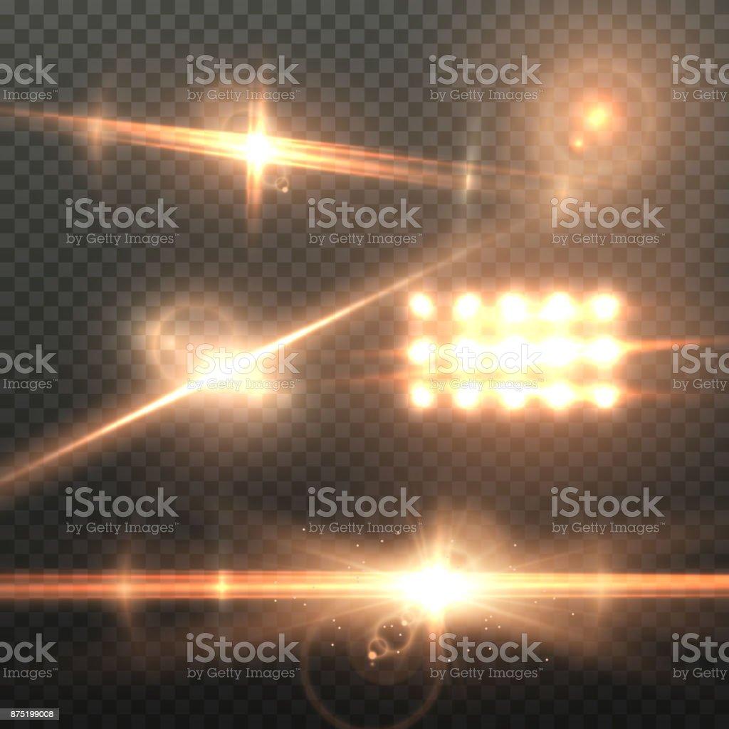 Vector Lens Flare Effect. Realistic Sun Flare Energy Beam Explosion on Transparent Background vector art illustration
