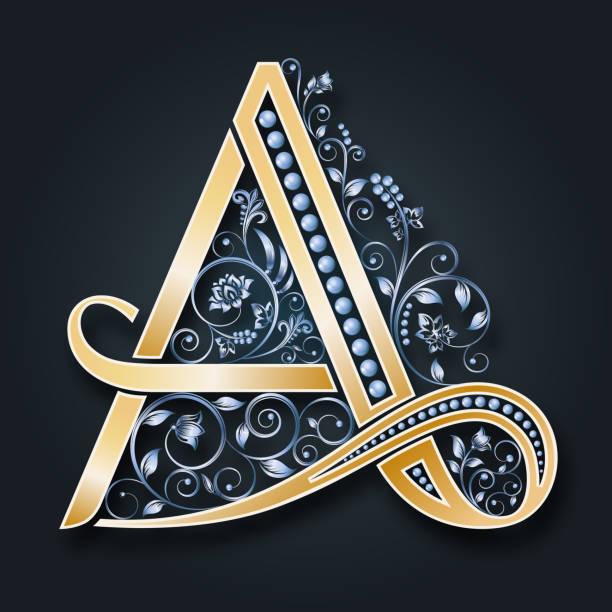 vektor brief a. golden alphabet. monogramm. silberne blüten und blätter. - perlenweben stock-grafiken, -clipart, -cartoons und -symbole