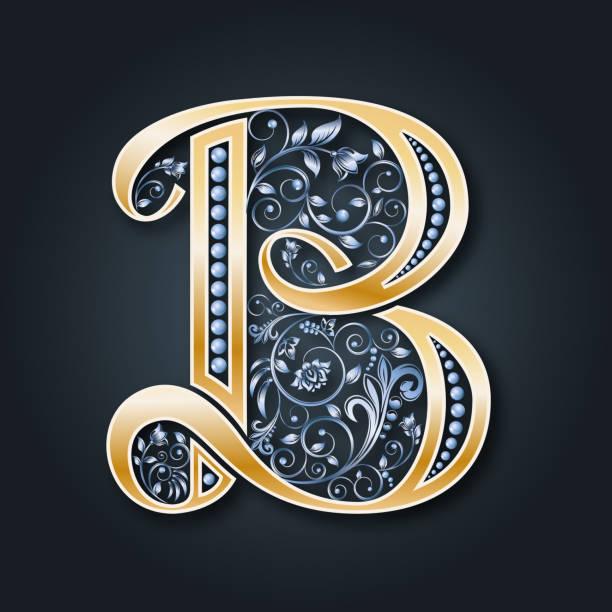 vektor brief b. golden alphabet. die initialen des monogramms. - perlenweben stock-grafiken, -clipart, -cartoons und -symbole