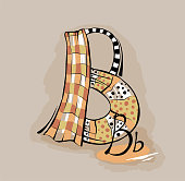 Vector Letter B stylized alphabet, light textile abstract picture.