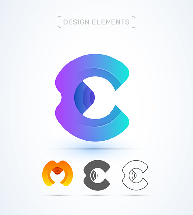 Vector letter E and M logo icon collection. Origami, fluent, flat and line style