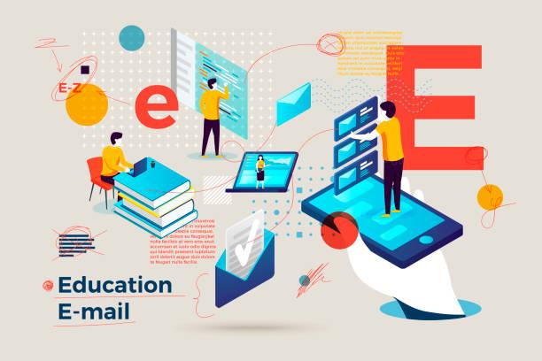 stockillustraties, clipart, cartoons en iconen met vector letter e business banner online leren - e learning
