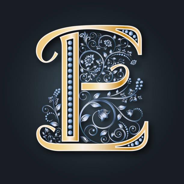 vektor brief e. gold und silber. monogramm. heraldische initialen. ornament. - perlenweben stock-grafiken, -clipart, -cartoons und -symbole