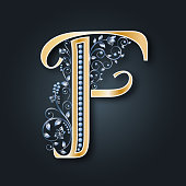 Vector letter F. Golden alphabet. Heraldic symbol. Initials. Monogram. Wedding.