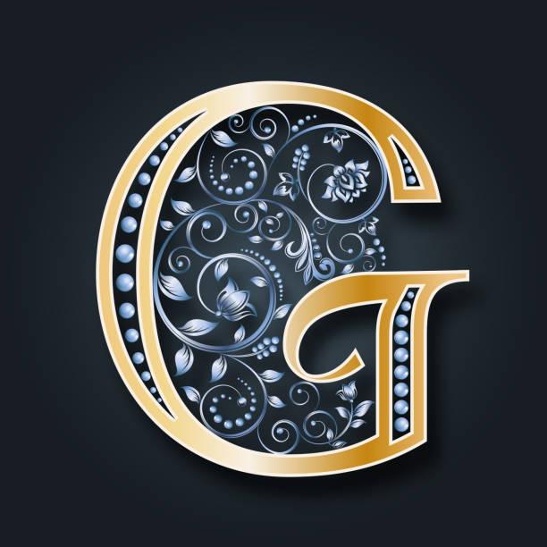 vektor brief g. gold und silber. monogramm. ornament. hochzeits-einladungen. - perlenweben stock-grafiken, -clipart, -cartoons und -symbole
