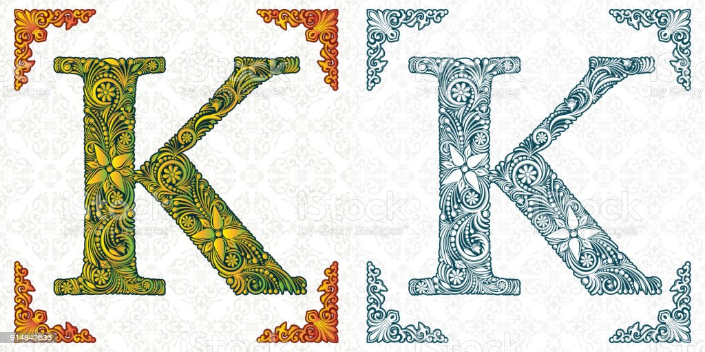 Vector Letter K Font Monogram Alphabet From Leaf Ornament Handmade