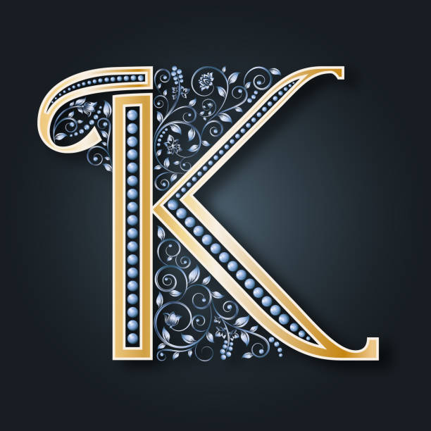 vektor brief k. golden alphabet auf einem dunklen hintergrund. monogramm. - perlenweben stock-grafiken, -clipart, -cartoons und -symbole