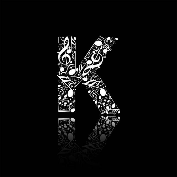 Vector letter K made from music notes, alphabet collection made from music notes, musical letter vector art illustration