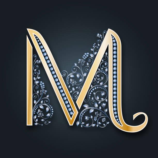 vektor brief m. golden alphabet auf einem dunklen hintergrund. monogramm. - perlenweben stock-grafiken, -clipart, -cartoons und -symbole