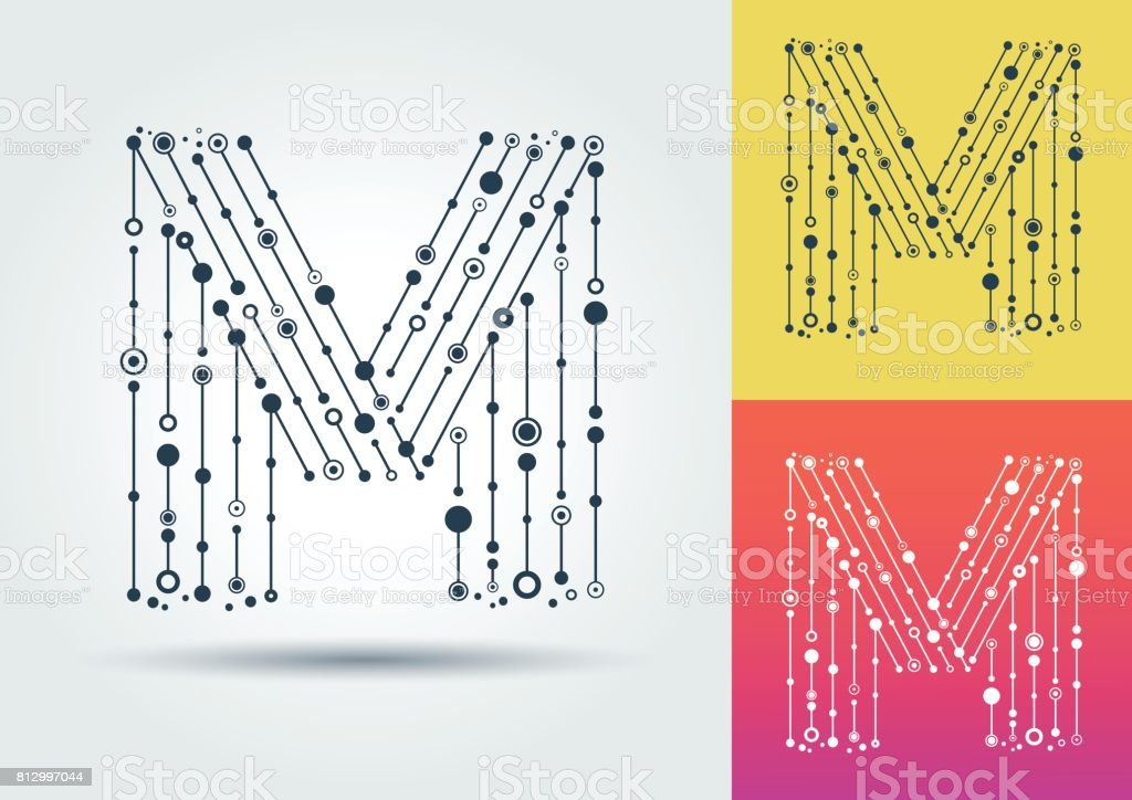 Vector letter M. Isolated and editable character in the style of techno. vector art illustration