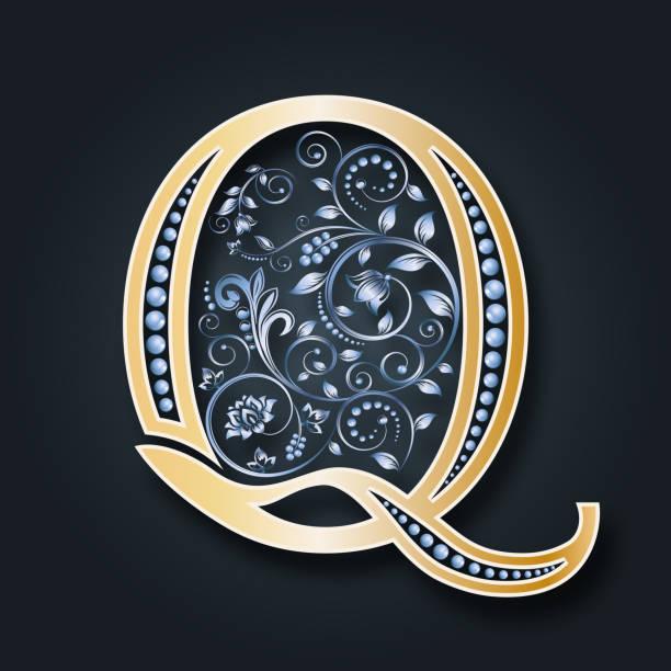vektor brief q golden alphabet auf einem dunklen hintergrund. monogramm. - perlenweben stock-grafiken, -clipart, -cartoons und -symbole