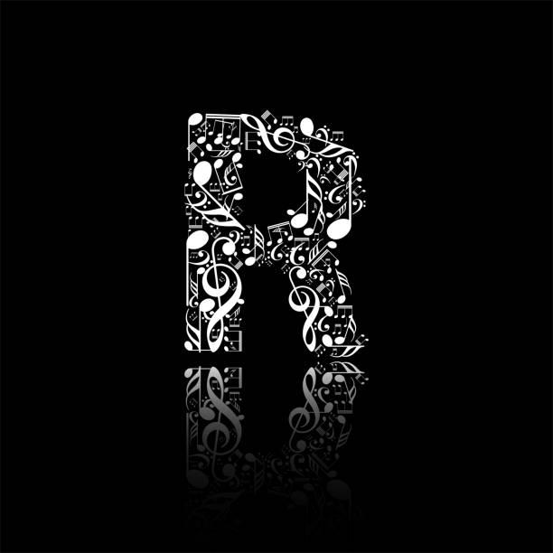 Vector letter R made from music notes, alphabet collection made from music notes, musical letter vector art illustration