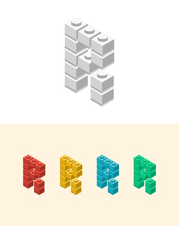 R vector letter with colourful plastic toy brick, isolated isometric 3d childish block font. Perfect for kids labels, birthday and kindergarten posters, school style, children magazines etc.