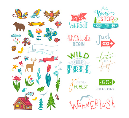 Vector lettering and doodle clipart on nature / travel / wanderlust theme.