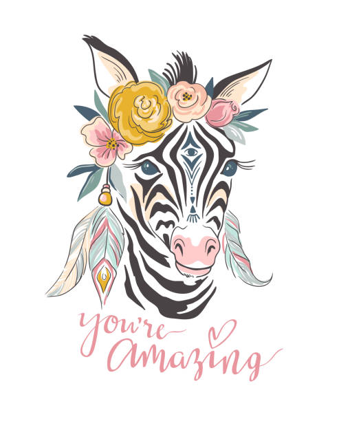 ベクトル文字カード。自由奔放に生きるゼブラで描かれたスタイリッシュなイラストとテキスト「あなたは素晴らしい」 - 花のボーダー点のイラスト素材/クリップアート素材/マンガ素材/アイコン素材